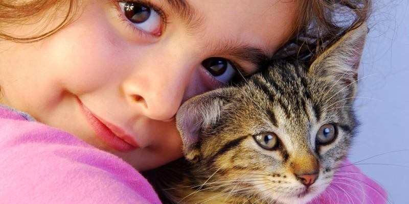 Mädchen mit Katze auf dem Arm